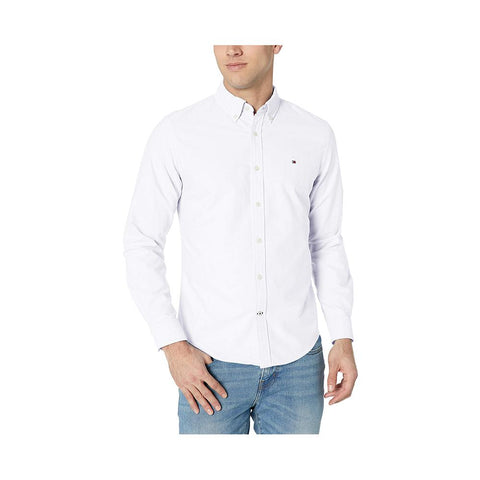 Tommy Hilfiger Custom Fit Shirt In Classic Cotton Bright White  78B7122 112