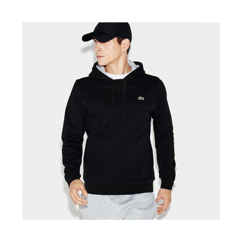 Lacoste  Men's Sport Hoodie Fleece Tennis Sweatshirt Black/Silver Chine SH2128-51 SNP