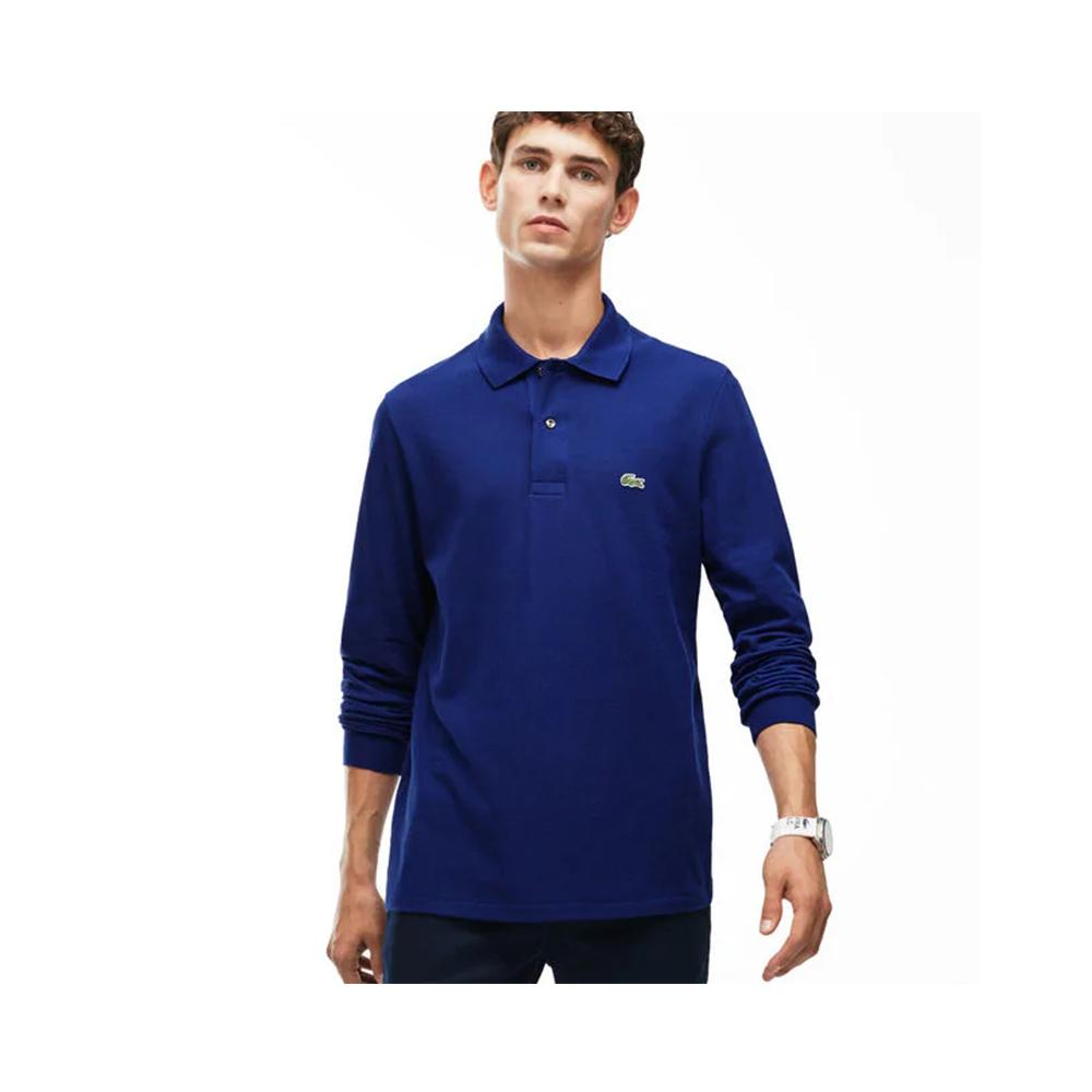 f6334c14a04bb Lacoste Mens Long Sleeve Classic Pique Polo Navy Blue L1312-51 166 ...