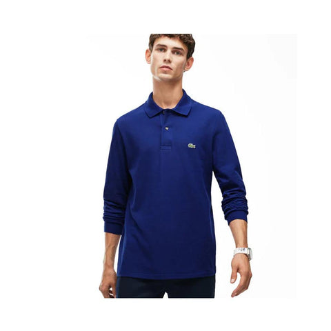 Lacoste Mens Long Sleeve Classic Pique Polo Navy Blue L1312-51 166