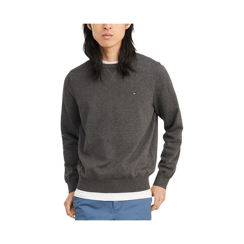 Tommy Hilfiger Men's Signature Solid Crew Neck Sweater B65 Charcoal Grey Heather 78J0478 021