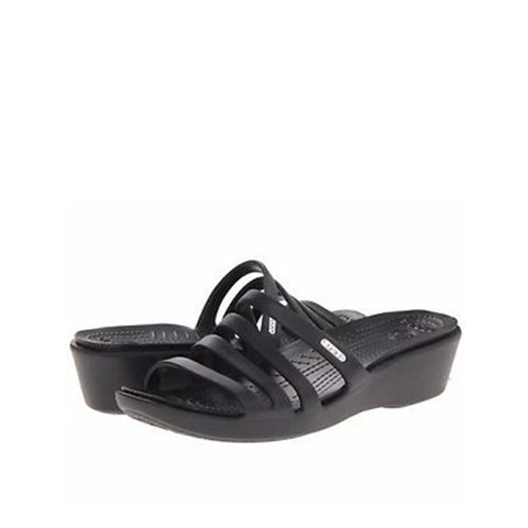 Crocs Women's Rhonda Wedge Sandals - Black/Black 14706-060