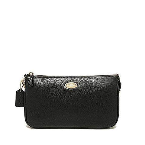 Coach Pebbled Leather Large Wristlet Black  F53340