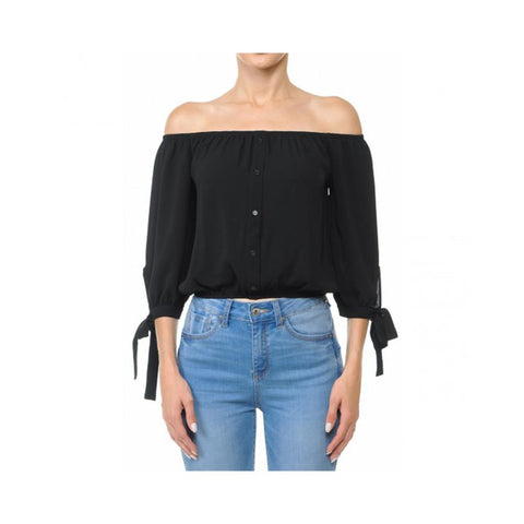 Aplaze Off-The-Shoulder 3/4 Balloon Tie Sleeve Crop Top Black 70737