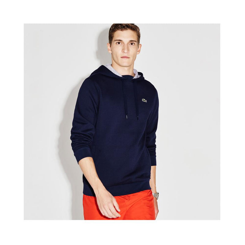 Lacoste Men's Sport Hoodie Fleece Tennis Sweatshirt Navy Blue/Silver Chine SH2128-51 KZA