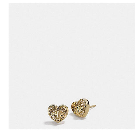 Coach Twinkling Heart Stud Earring Gold F17448