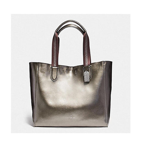 Coach Large Derby Tote in Metallic Pebble Leather Gunmetal F59388