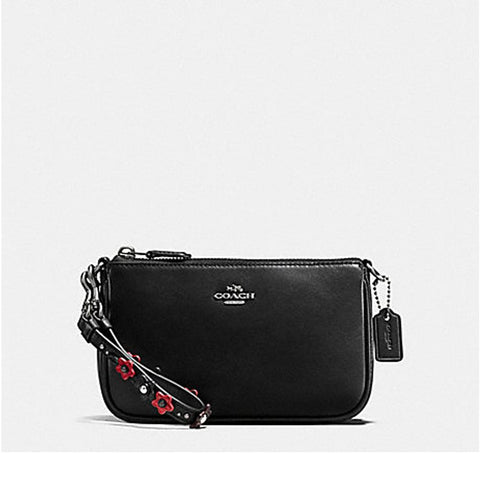 Coach Womens Floral Applique Strap Large Wristlet Black F59558