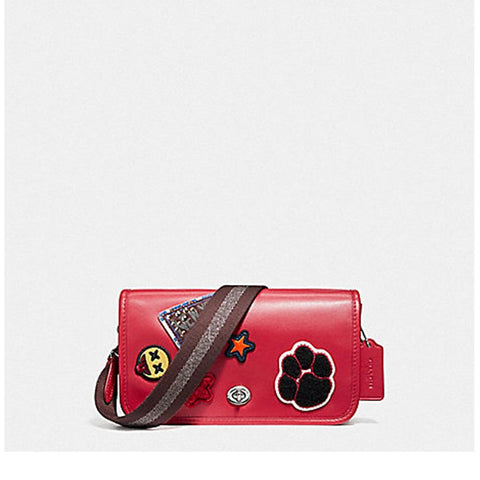 Coach Penny Crossbody in Refinded Calf Leather with Varsity Patches and Webbed Strap Silver/True Red F20912
