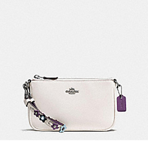 Coach Womens Floral Applique Strap Large Wristlet White F59558