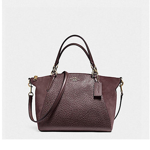 Coach Small Kelsey Satchel in Mixed Materials Oxblood F11832
