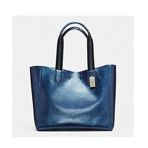 Coach Large Derby Tote in Metallic Pebble Leather Metallic Navy F59388
