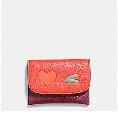 Coach Heart Card Pouch In Glovetanned Leather Multicolor F11720