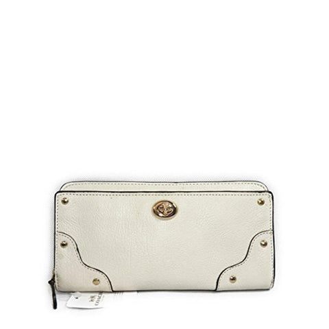 Coach Mercer Accordion Zip Wallet In Grain Leather Chalk F53882