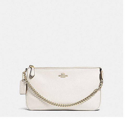 Coach Pebbled Leather Large Wristlet Chalk F53340