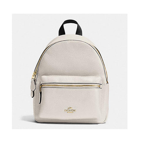 Coach Mini Charlie Backpack In Pebble Leather Chalk  F58263/F38263