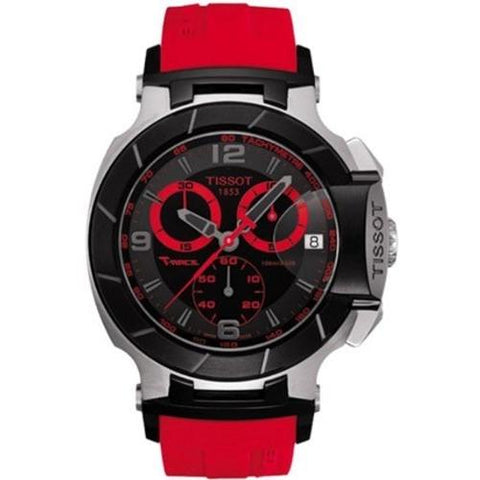 Tissot Men's T0484172705702 T-Race Two-Tone Stainless Steel Watch with Red Rubber Band - APLAZE