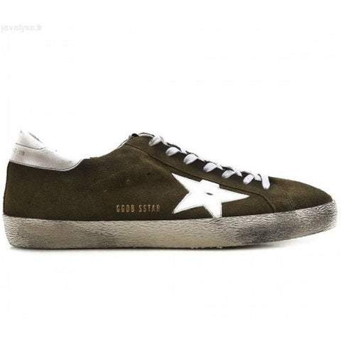Golden Goose Superstar Sneakers Olive Green Suded/White G30MS590.B21