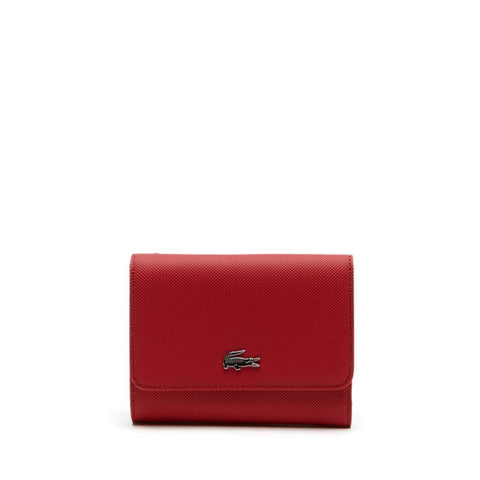 Lacoste Women's Daily Classic Coated Pique Canvas 8 Card Wallet Garnet NF2539DC-A62