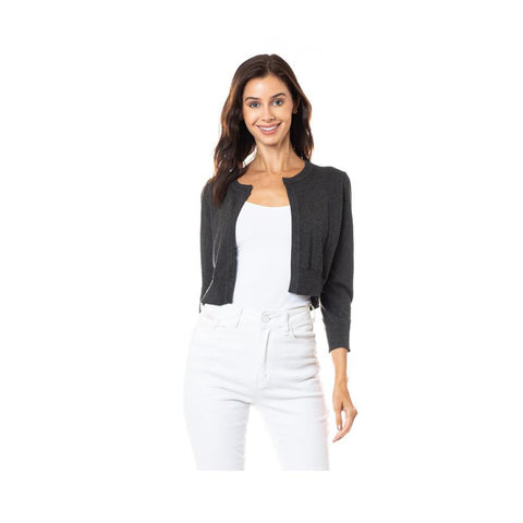 Aplaze  Open Bolero Cardigan Charcoal Grey SW185