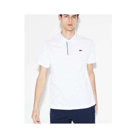 Lacoste Men's Sport Print Collar Ultra-Light Cotton Tennis Polo White/Marino YH3315-51-PPM