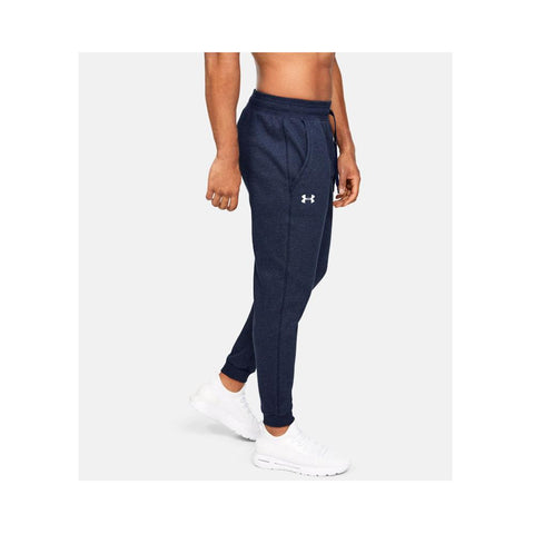 Under Armour Men's UA Hustle Fleece Jogger Midnight Navy Light Heather/White  1317455-411