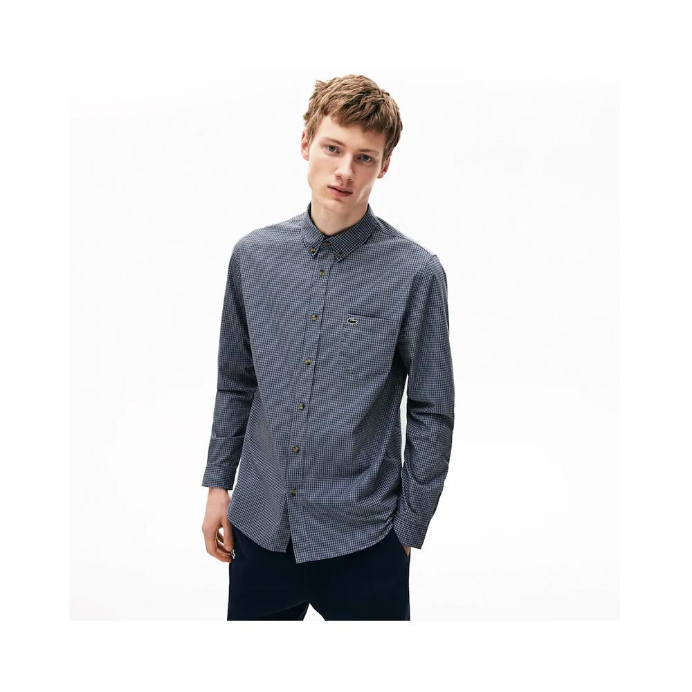 Lacoste Regular Fit Gingham Cotton Poplin Shirt Dark Navy Blue/Purppy CH0003-51 X6D