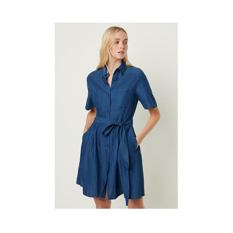 French Connection Leila Ixie Lyocell Button Shirt Dress Dark Mid Indigo 71MBH