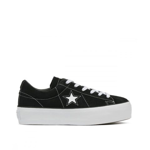 Converse One Star Platform Ox Suede Black/Black/White 563869C