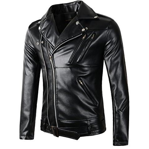 New Mens Causal Belted Design Slim Pu Leather Biker Zipper Jacket Coat - APLAZE