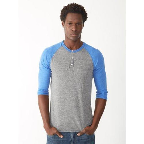 Alternative Eco-Jersey 34-Sleeve Raglan Henley GREY ROYAL 01989E1