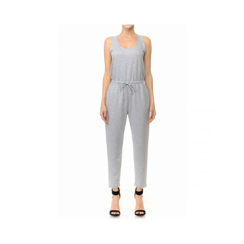 Aplaze French Terry Knit Scoop Neck Sleeveless Jumpsuit Heather Grey 70450
