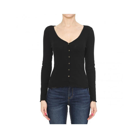 Aplaze Lettuce Button-Front Ribbed V-Neck Long Sleeve Top Black 72577