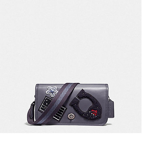 Coach Penny Crossbody in Refinded Calf Leather with Varsity Patches and Webbed Strap Antique Nickel/Midnight  F11802