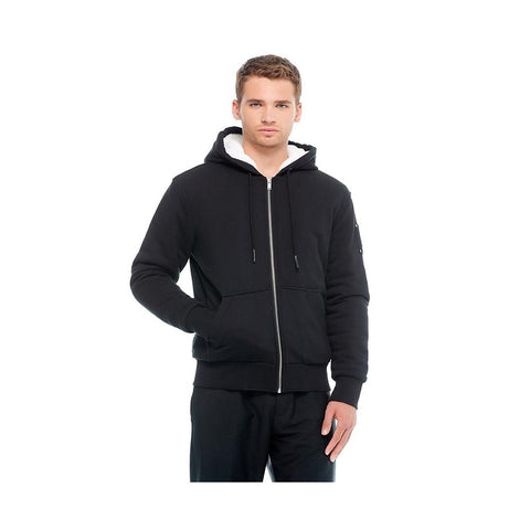 Moose Knuckles Mens Hoodie His Fashion Bunny Black With White Faux M39MS600-803