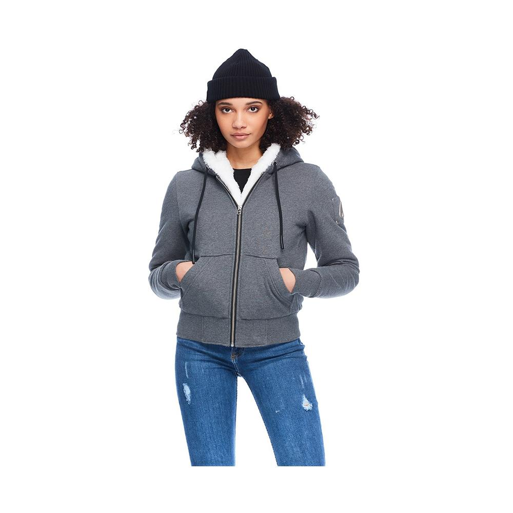 Moose Knuckles Ladies Hoodie Classic Her Bunny Charcoal with White Faux MK8601LS-806