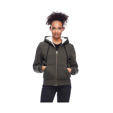 Moose Knuckles Ladies Hoodie Her Fashion Bunny Olive with White Faux M39LS601-811