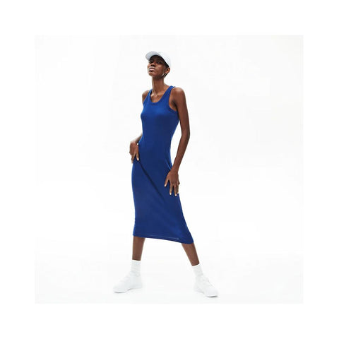 Lacoste Women's Long Ribbed Cotton Dress Methylene EF5480-51 F9F