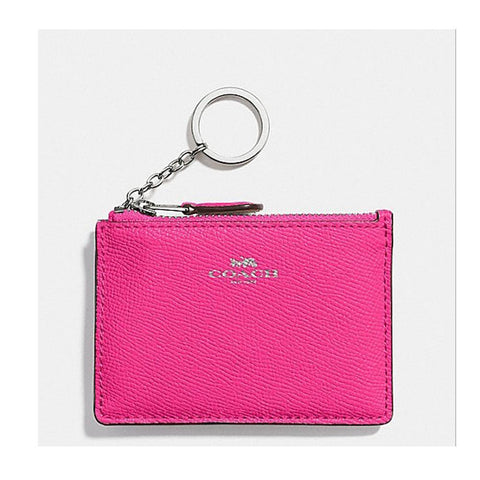 Coach  Mini Skinny ID Case in Crossgrain Leather Bright Fuchsia  F12186