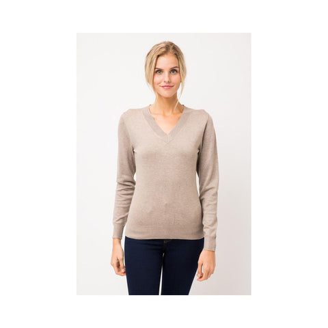 Aplaze Thick Neckline Pull Over Sweater Camel SW645
