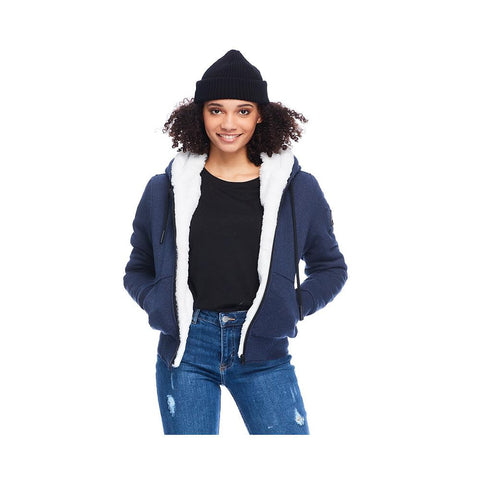 Moose Knuckles Ladies Hoodie Classic Her Bunny Denim with White Faux MK8601LS-814
