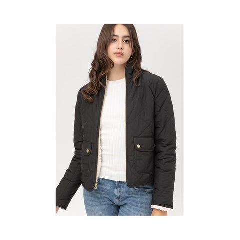 Aplaze Pola Quilted Reversible Jacket Black 8169JN