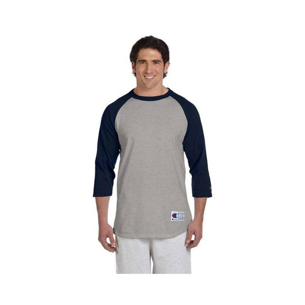 Champion Raglan Baseball T-Shirt Oxford Gray/Navy T137 32