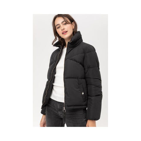 Aplaze Oversized Boyfriend Zip Up Puffer Jacket Black J8066