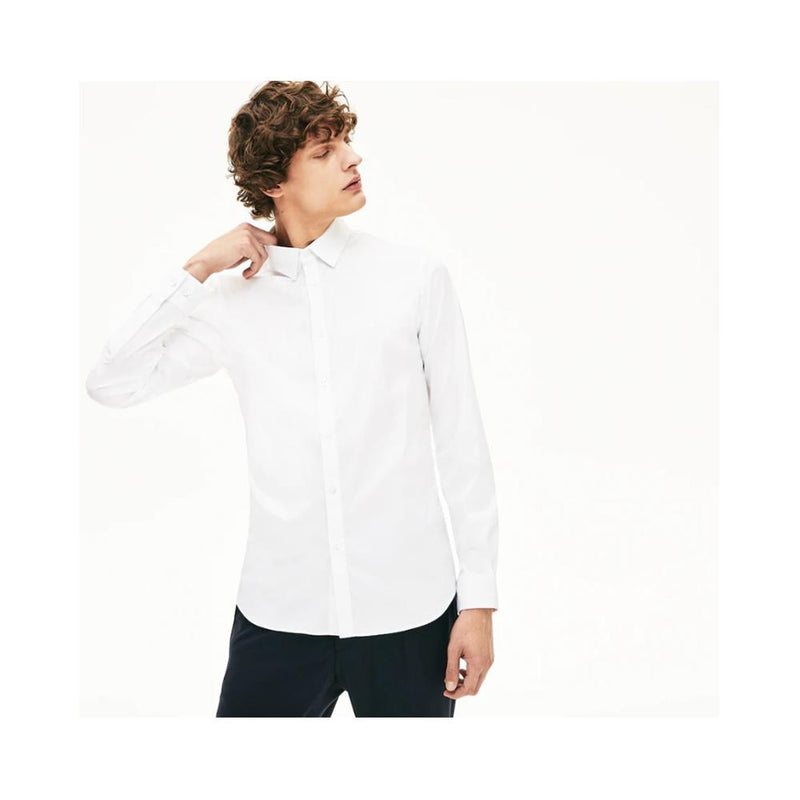 Lacoste Men's Slim-Fit Stretch Cotton Poplin Shirt Ch5366-51 001 White