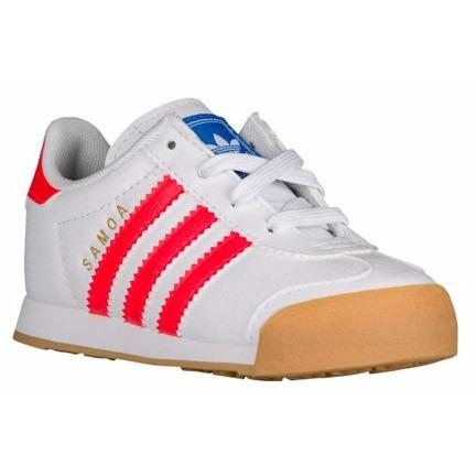 ADIDAS Kids Originals Samoa Perf Sneaker in White/Solar Red/Gum