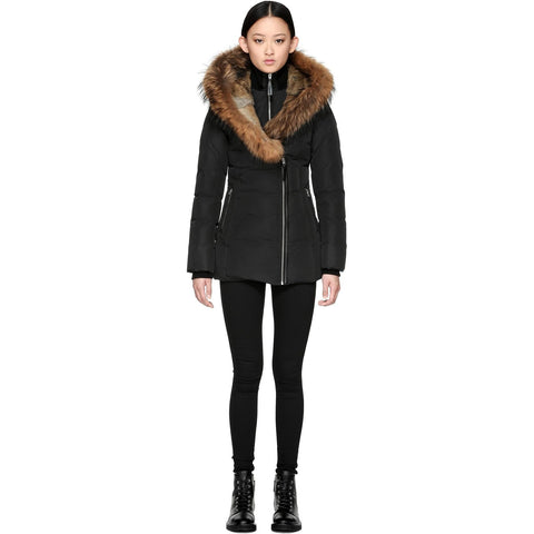 MACKAGE Akiva Winter Down Coat With Fur Lined Black AKIVA