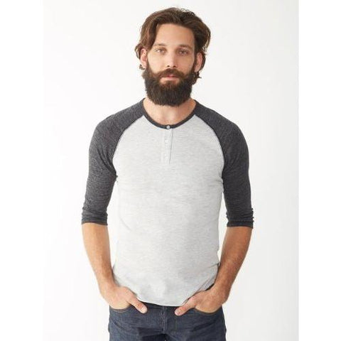Alternative Eco-Jersey 34-Sleeve Raglan Henley BLACK & WHITE 01989E1