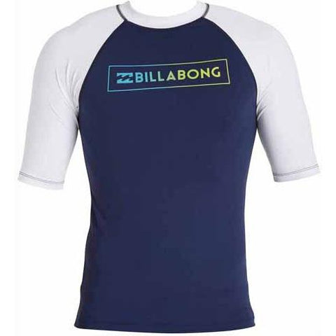 BILLABONG All Day Raglan Short Sleeve Rashguard Navy MWLYEARS