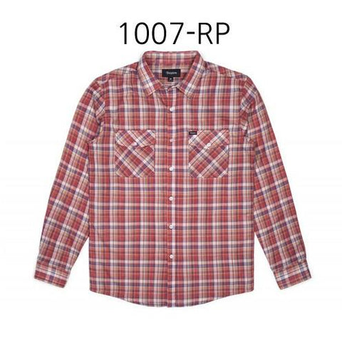 BRIXTON Memphis Long Sleeve Woven Shirt Rust Plaid 1007